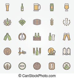 Beer colorful icons set - vector simple symbols of beer...