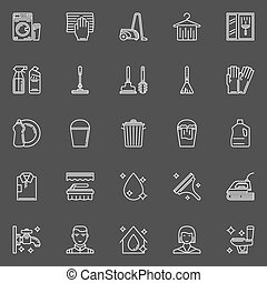 Cleaning thin line icons - Cleaning icons - vector set of...