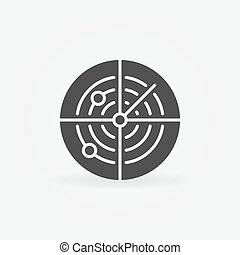 Dark radar icon or logo - vector sonar concept symbol
