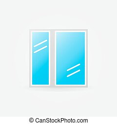 Glazed window glossy icon - vector window symbol or logo