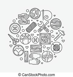 Hand made illustration - vector outline design element or...