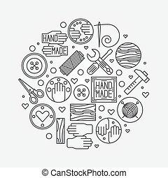 Hand made illustration - vector outline design element or...