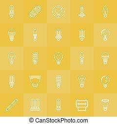 Light bulbs icons set - vector white line LED, incandescent,...