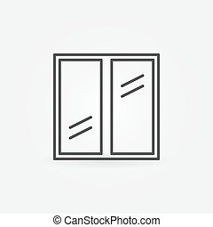 Plastic window icon - vector glazed window outline symbol or...