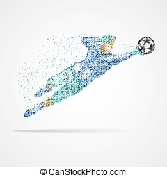 Football, soccer, goalkeeper - Football player with the ball...