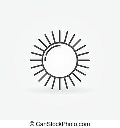 Shiny sun line logo - Shiny sun logo - vector outline simple...