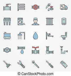 Vector plumbing colorful icons