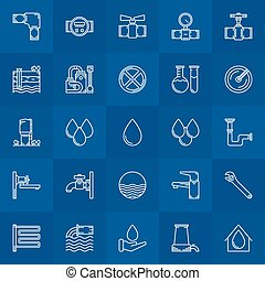 Water supply line icons - Water supply icons - vector linear...