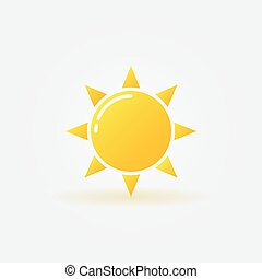 Yellow sun icon - vector sunlight isolated symbol or logo