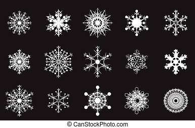 snowflake - set of white snowflakes on a black background