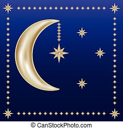 sweet dreams - golden crescent and stars on the blue sky,...