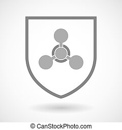 Line art shield icon with a chemical weapon sign