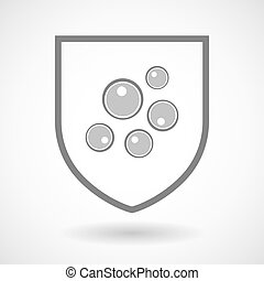 Line art shield icon with oocytes - Illustration of an...