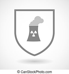 Line art shield icon with a nuclear power station -...