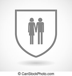 Line art shield icon with a heterosexual couple pictogram -...