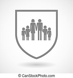 Line art shield icon with a large family pictogram -...