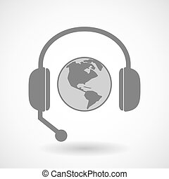 Assistance headset icon with an America region world globe