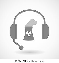 Assistance headset icon with a nuclear power station -...