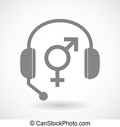 Assistance headset icon with a transgender symbol -...