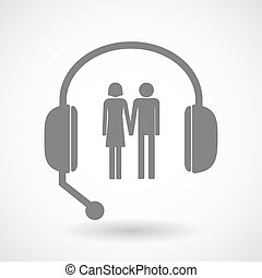 Assistance headset icon with a heterosexual couple pictogram...