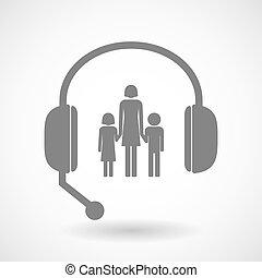 ayuda, auriculares, icono, con, Un, hembra, solo, padre,...
