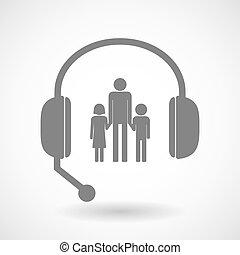 ayuda, auriculares, icono, con, Un, macho, solo, padre,...