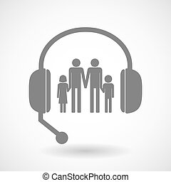 Assistance headset icon with a gay parents family pictogram...