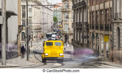 Urban transport in the old street in the old part of the city timelapse. The historic city center of Porto declared by UNESCO World Heritage Site.