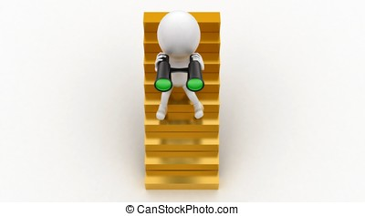 3d man sitting on stairs and looking through binocular...
