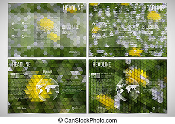 Vector set of tri-fold brochure design template on both sides with world globe element. Yellow flowers in the grass. Abstract multicolored backgrounds. Natural geometrical patterns. Triangular and hexagonal style