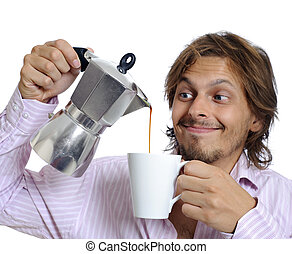 Look at that caffeine goodness - Businessman is enjoying his...