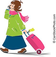 Funny woman air passenger with suitcase and phone - Vector...