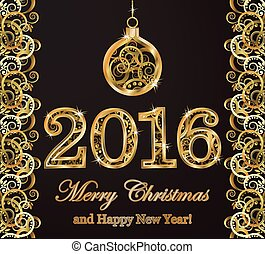 Happy new 2016 year golden background, vector illustration