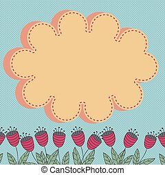 Floral card with stylized flowers and cloud design element...