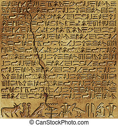 Hieroglyphics - Ancient Egyptian Hieroglyphics on Wall with...