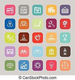 Franchise line flat icons
