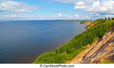 Onega lake in Karelia, view from andom mountain