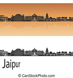 Jaipur skyline in orange background in editable vector file