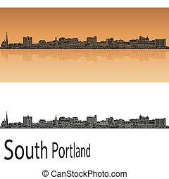 South Portland skyline in orange background in editable...
