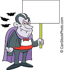 Cartoon vampire holding a sign.