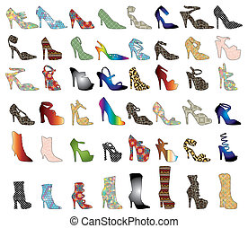 Shoe Silhouettes 3 - Vector of 48 patterned shoes. Shoe...