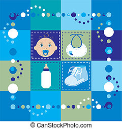 Baby Boy Quilt - Vector Illustration of baby boy quilt....