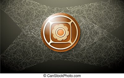 Dark background with abstract cobweb and cogwheel