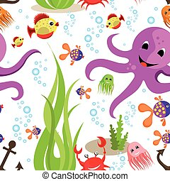 sea life pattern - Vector background sea life