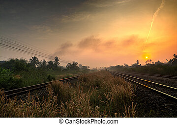 Railway Track with Rural Scene in the Morning or Dawn with...