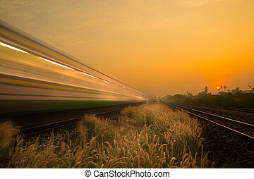 Train Passing by over Rural Railway Bridge in the Morning or at Dawn