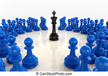 Black chess king surrounded by blue pawns - High quality 3D...