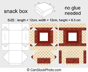 Brown Snack Box 12x12x65 cm - Background Design and Die-Cut...