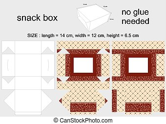 Brown Snack Box 12x14x65 cm - Background Design and Die-Cut...