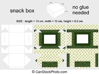 Green Snack Box 12x14x65 cm - Background Design and Die-Cut...